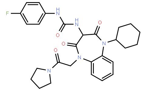 Urea, N-[1-cyclohexyl-2,3,4,5-tetrahydro-2,4-dioxo-5-[2-oxo-2-(1-pyrrolidinyl)ethyl]-1H-1,5-benzodiazepin-3-yl]-N'-(4-fluorophenyl)-