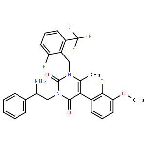2,4(1H,3H)-Pyrimidinedione,3-[(2R)-2-amino-2-phenylethyl]-5-(2-fluoro-3-methoxyphenyl)-1-[[2-fluoro-6-(trifluoromethyl)phenyl]methyl]-6-methyl-