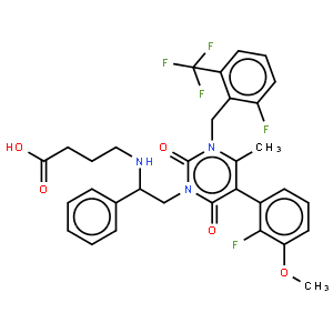 ethyl (R)-4-{2-[5-(2-fluoro-3-methoxyphenyl)-3-[2-fluoro-6-(trifluoromethyl)benzyl]-4-methyl-2,6-dioxo-3,6-dihydro-2H-pyrimidin-1-yl]-1-phenylethylamino}butyrate
