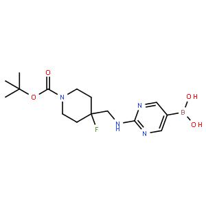 (2-(((1-(tert-Butoxycarbonyl)-4-fluoropiperidin-4-yl)methyl)amino)pyrimidin-5-yl)boronic acid